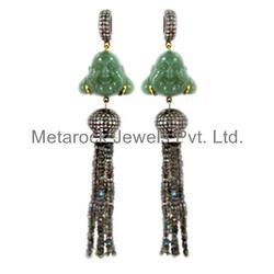 Pave Diamond Gemstone Beads Tassels Earrings