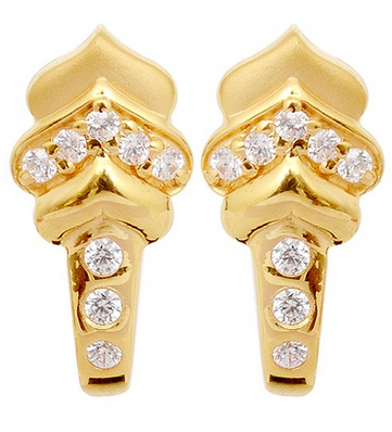 Stone Studded J Type Gold Earrings Grt Jewellers Bengaluru