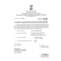 Certificate of Approval of Forced Hot Air Treatment Facility