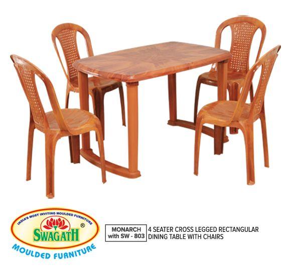Plastic Brown Dining Table & Four Chairs, Uma Plastics ...