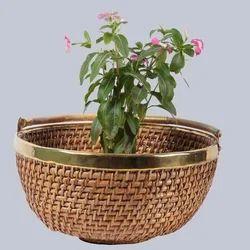 Round Cane Planter Basket