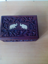 Double Elephant Wooden Tea Box