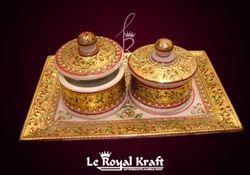 Golden Gold Foil Marble Tray Set