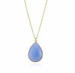 Blue Chalcedony Bezel Set Necklace