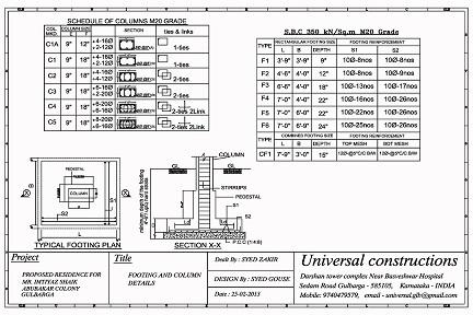 Footing Amp Column Design Service Universal Constructions