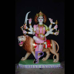 Colorful Marble Goddess Durga Statue