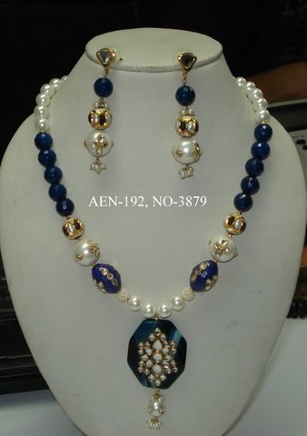 across semi preciou precious with silver stones handmade necklace rainbow garne