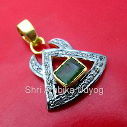 Emerald 92.5 Silver Gold Plated Pendant