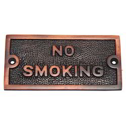 Small No Smoking Brass Sign