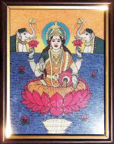 Lord Laxmi Sitting On Floting Lotus Flower