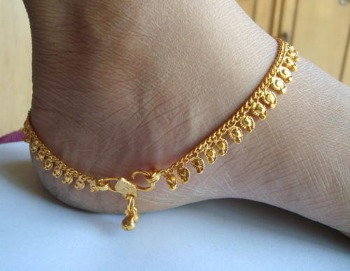 plated bracelet on foot item fashion gold anklets from chain real jewelry a in for anklet leg women platinum