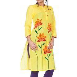Yellow Flower Printed Kameez