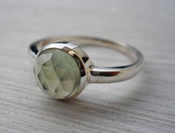 Prehnite Rose Cut Gemstone Silver Ring