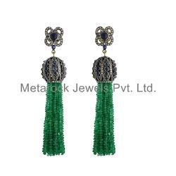 Micro Pave Gemstone Tassel Earring Jewelry