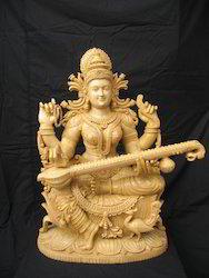 Wooden Saraswathi Goddess Statue