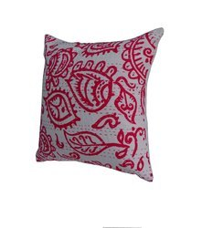 Kantha Cotton Trible Pink Cushion Cover