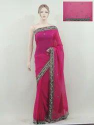 Ethnic Hot Pink Fancy Indian Bollywood Designer Saree