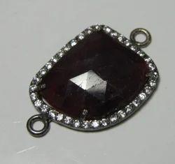 Dark Stunning Sapphire-Cubic Zircon is Bezel Pendant