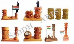 Wooden Ashoka Pillar With Pen Stand