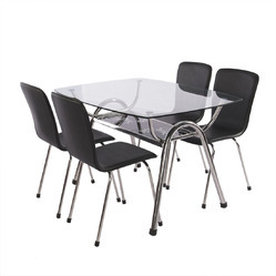 Leatherette Seat SS Dining Table Set