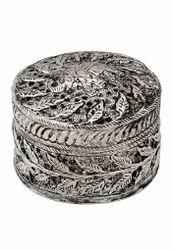 Round White Metal Small Jewellery Box