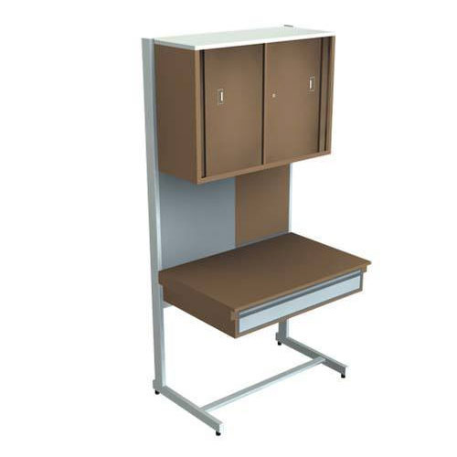 Superieur Wood U0026 Metal Brown Study Table And Side Locker