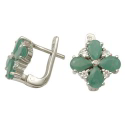Emerald Silver Floral Earring