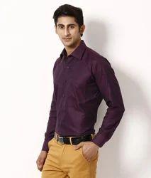 Dark Purple Solid Formal Shirt