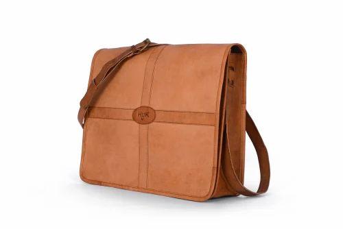 Brown HUK Goat Leather Messenger Bag For Men Leather Laptop Bag 792f31117e309