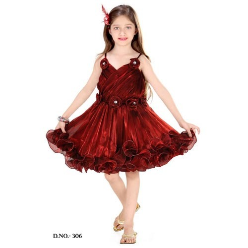 569cd7a94 Sleeveless Maroon Girls Frocks, Size: S, M Or L, Rs 835 /piece(s ...