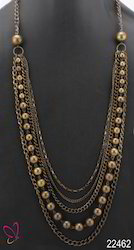 Alloy Metal Gold Multi Strand Necklace
