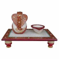 Marble Chowki Ganesh with Diya