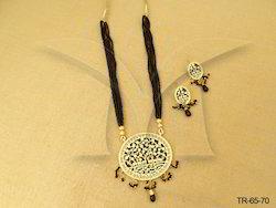 Elephant Horses Textured Single Thewa Necklace
