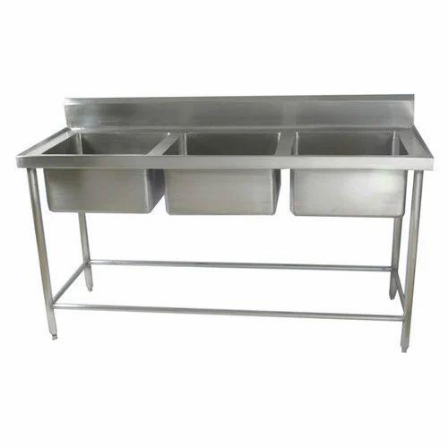 SS Three Bowl Kitchen Sink