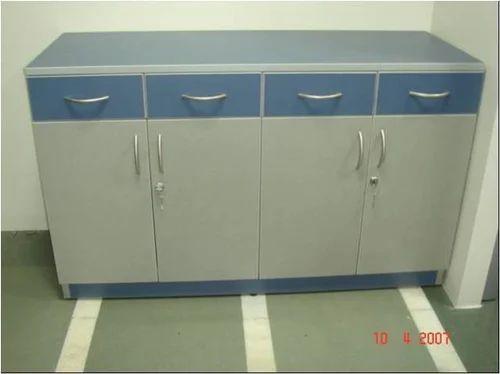 Navy Blue Grey Shree Interior Wooden Storage Cabinet