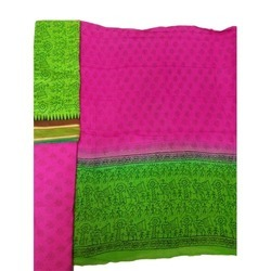 Green Pink Chanderi Suit