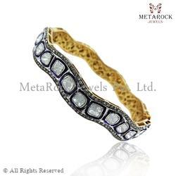 Gold Polki Diamond Rose Cut Bangle