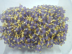 Gold Plated Amethyst Gemstone Sterling Silver Cluster Chain