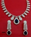 White American Diamond and Sapphire Necklace Set