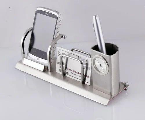 Mobile holder visiting card holder and pen stand with watch at rs mobile holder visiting card holder and pen stand with watch colourmoves