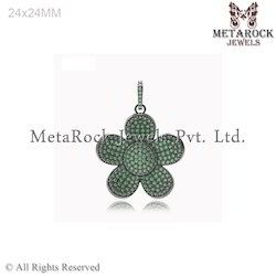 Pave Setting Chrome Diopside Gemstone Charm Pendant