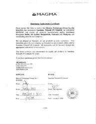 Distributor Authenticity Certificate