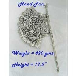 White Metal Hand Fan