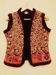 Ladies Embroidered Jackets - Embroidered Leather Fur Jacket Exporter from  New Delhi