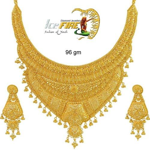 fashionworldhub heavy gold diamond tag necklace bridal sets