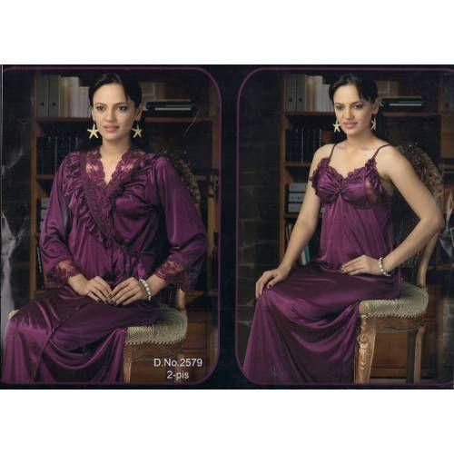 Ladies Dark Purple Satin Nighty at Rs 420  piece  dcfe16898