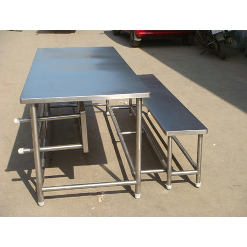 Stainless Steel Canteen Table With Foldable Bench 2 At Rs 60000