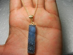 Rectangle Blue Druzy Silver Gemstone Necklace
