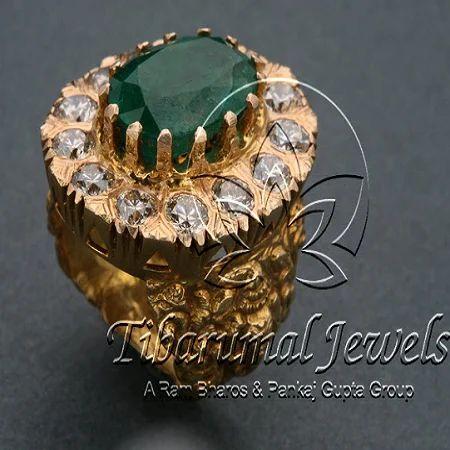 8e6349e60abfb Emerald Studded Diamond Ring, Diamonds & Diamond Jewels | Tibarumal ...