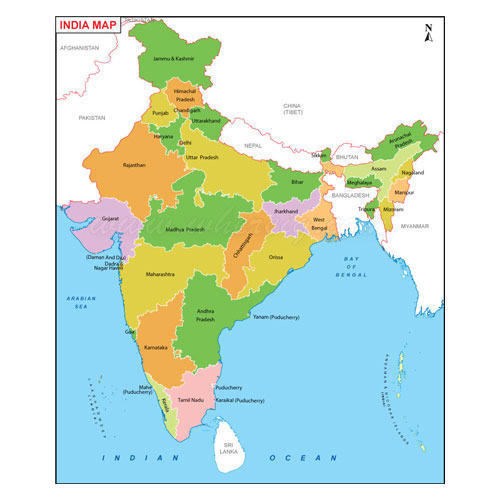 India Political Map With States Political State Maps   Wholesale Price for Political State Maps in